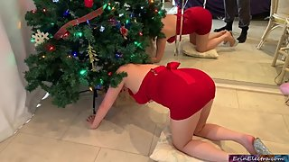 Stepmom gets stuck and fucked in the christmas tree