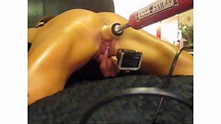 AMATEUR TIED SPREAD EAGLE FUCKED HARD WITH DILDO MACHINE.. 40 MINUTES !!