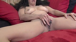 Horny  Stepmom Fingering and Toying Her Shaved  Pussy! Meaty Pussy Lips!
