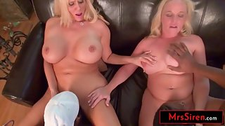 2 Busty MILFs Fuck Their BBC Pool Boys