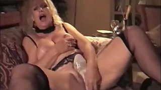 Hot breasted mom masturbating with high heels