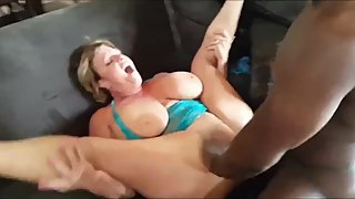Husband films his busty wife gets creampie from BBC