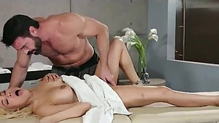 Married blonde bombshell getting horny by a muscular masseur