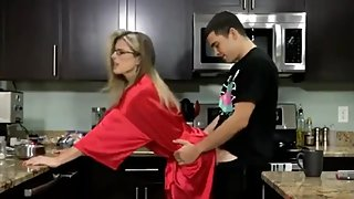 Taboo! Step son fucks his naughty and shameless mom in kitchen - Cory Chase