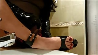 slutty analika shows her plateau heels and painted nails get hard and cum