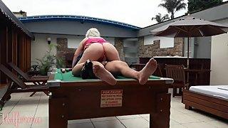 Hot girl playing pool and paying the round with sex