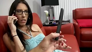 Stepmom gets creampie from stepson while phone talking to husband