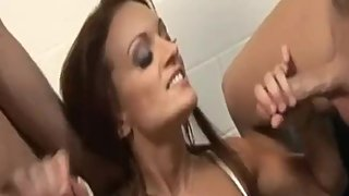 A Threesome Handjob Moment Jacks Cock with Nasty Cumshots