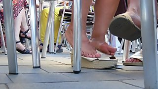 Greek Lady Dipping On Wedge Sandals 1