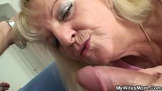 Hairy blonde mother inlaw rides his big dick